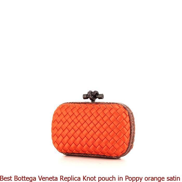 Best Bottega Veneta Replica Knot pouch in Poppy orange satin and orange  water snake 1bfe1753268bd