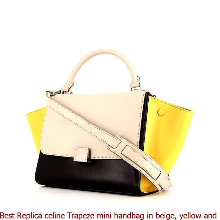cf40c927a77 Best Replica celine Trapeze mini handbag in beige, yellow and black  tricolor leather