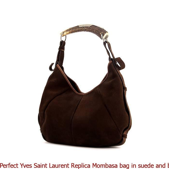1797c60e64 Perfect Yves Saint Laurent Replica Mombasa bag in suede and brown leather