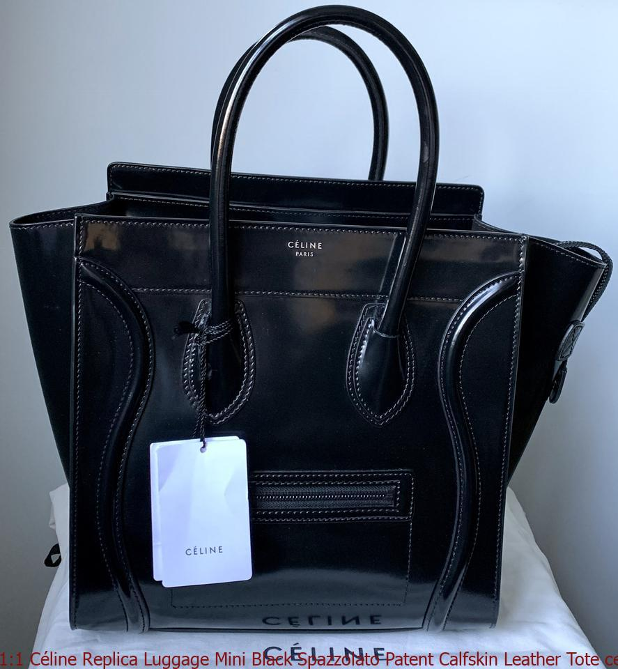 top design fashionable patterns skilful manufacture 1:1 Céline Replica Luggage Mini Black Spazzolato Patent Calfskin Leather  Tote celine replica online shop