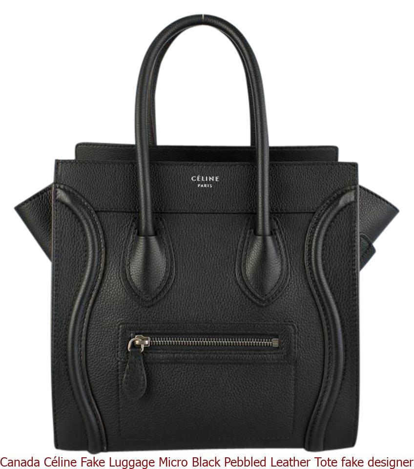 bf3d0a36133 Canada Céline Fake Luggage Micro Black Pebbled Leather Tote fake designer  bags china