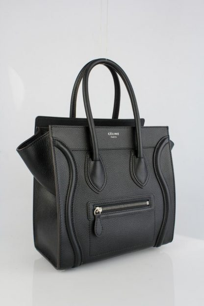 c2d65c62fc4 Canada Céline Fake Luggage Micro Black Pebbled Leather Tote fake designer  bags china