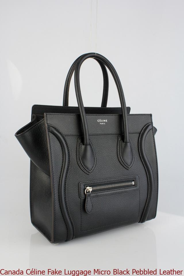 Canada C 233 Line Fake Luggage Micro Black Pebbled Leather Tote Fake Designer Bags China