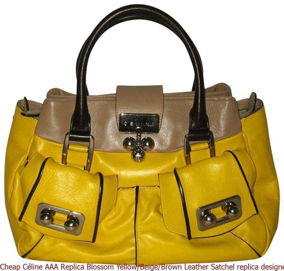 watch exclusive deals super cheap compares to Cheap Céline AAA Replica Blossom Yellow/Beige/Brown Leather Satchel replica  designer handbags uk