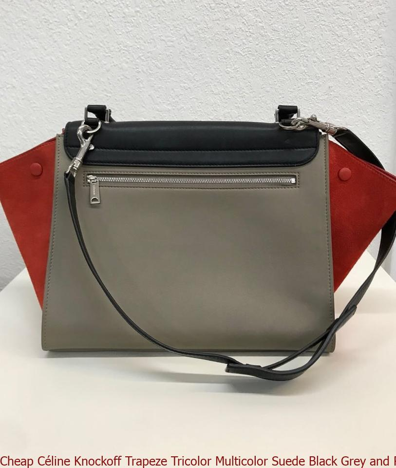 a155ba7d56 Cheap Céline Knockoff Trapeze Tricolor Multicolor Suede Black Grey and Red  Calfskin Leather Tote celine bag price
