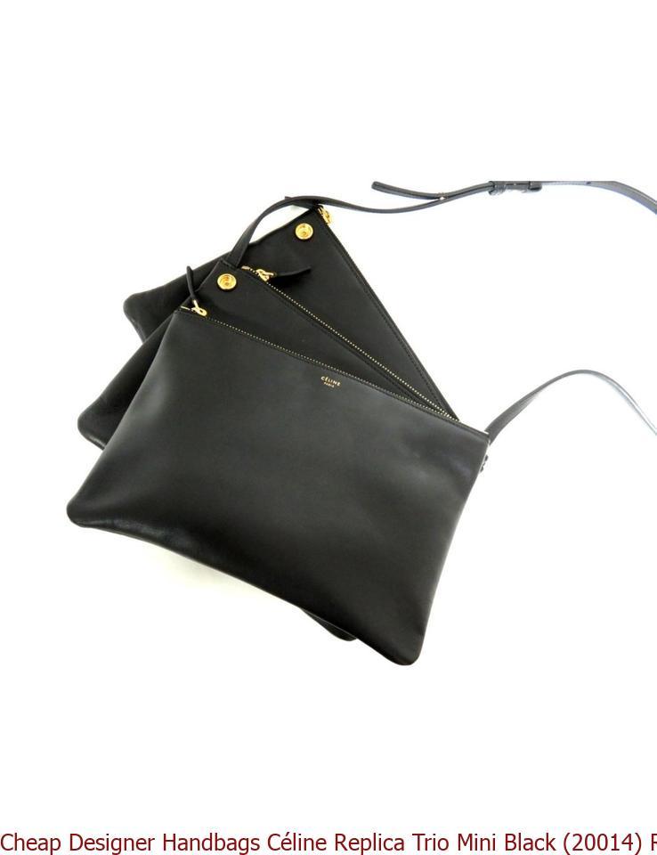 96ad87d55a7b7e Cheap Designer Handbags Céline Replica Trio Mini Black (20014) Red Lambskin  Leather Shoulder Bag celine phantom bag