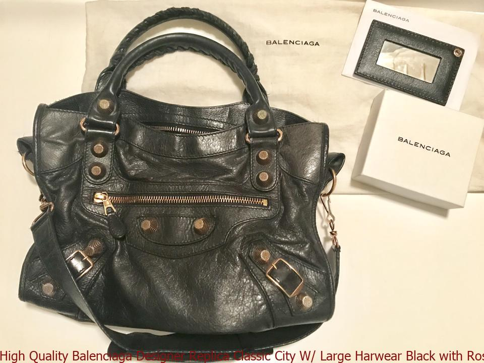 f889a328eb5 ... Rose Gold Hardware Leather Shoulder. High Quality Balenciaga Replica  Clic City W Large