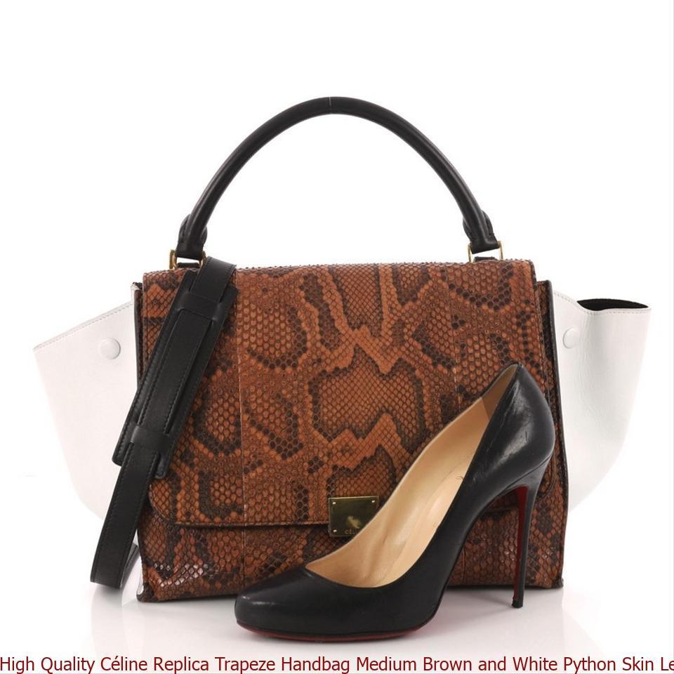 ca30bc39dae6 High Quality Céline Replica Trapeze Handbag Medium Brown and White Python  Skin Leather Satchel replica handbags