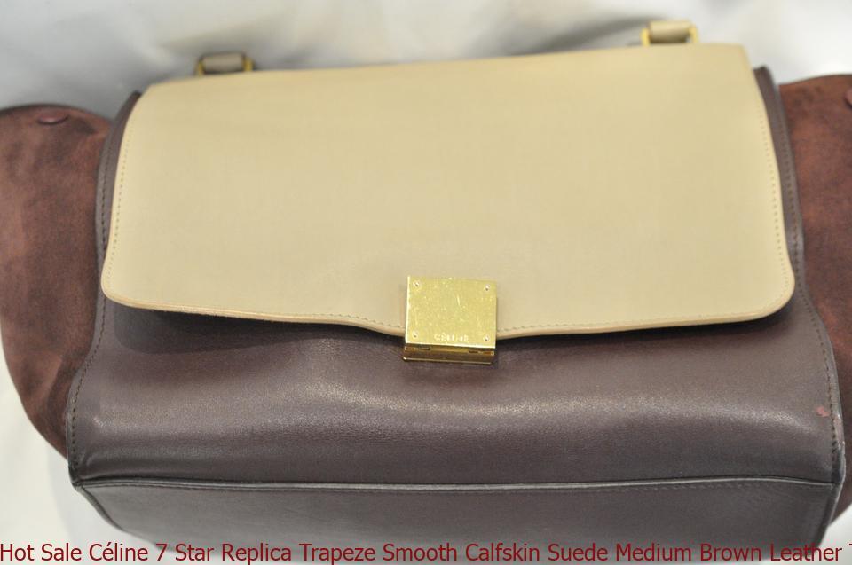 1b2a61388c6f Hot Sale Céline 7 Star Replica Trapeze Smooth Calfskin Suede Medium Brown  Leather Tote celine box bag