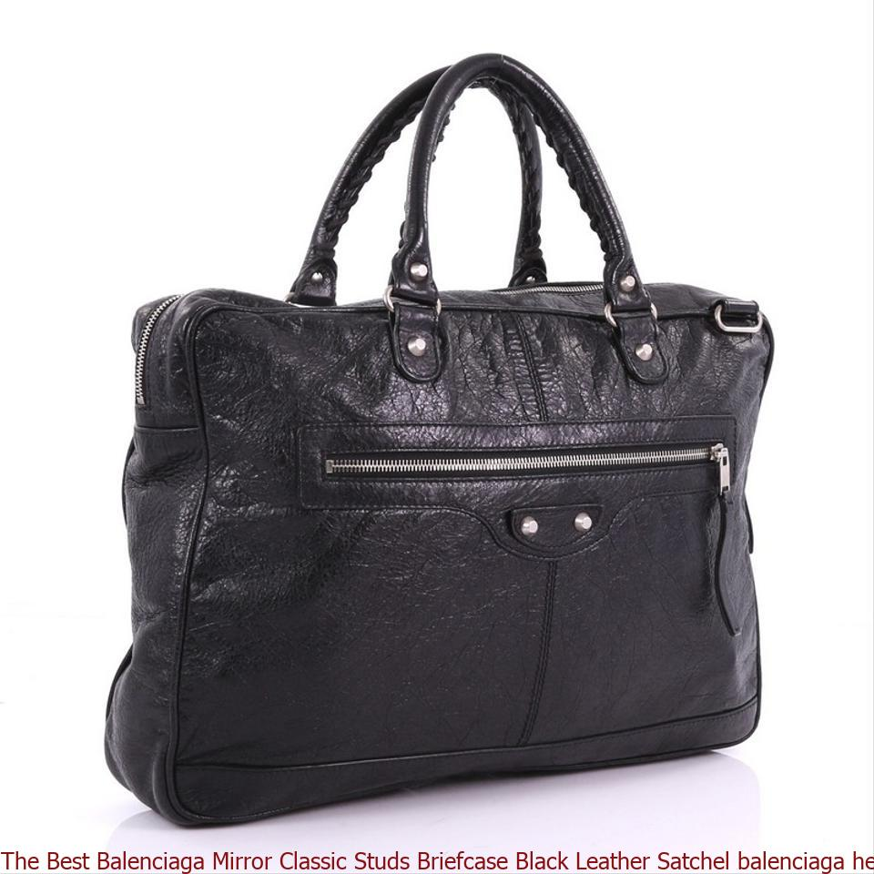 92aaa7438a The Best Balenciaga Mirror Classic Studs Briefcase Black Leather Satchel  balenciaga heels