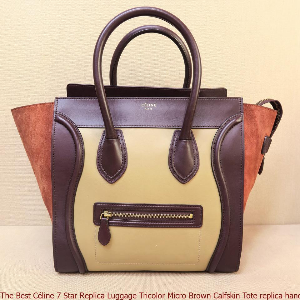 05bc38103 The Best Céline 7 Star Replica Luggage Tricolor Micro Brown Calfskin Tote  replica handbags