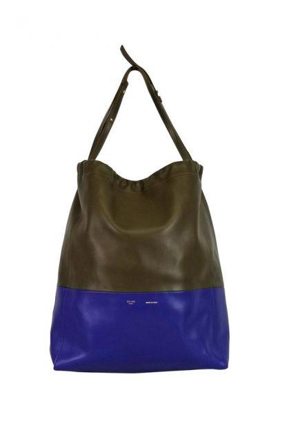 UK Céline Mirror Color-blocked Grey   Blue Leather Tote celine bucket bag ed355e36fbe33
