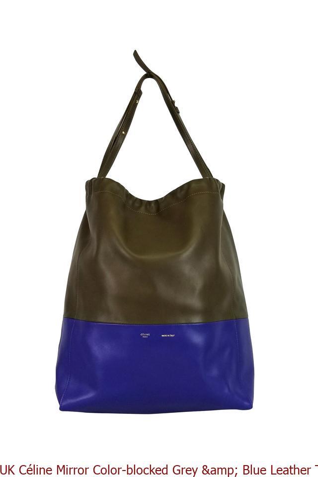 20ed563fda2c UK Céline Mirror Color-blocked Grey   Blue Leather Tote celine bucket bag